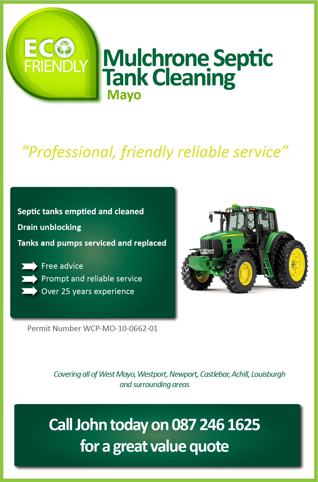 Mulchrone Septic Tank Cleaning Westport Mayo Drain Unblocking