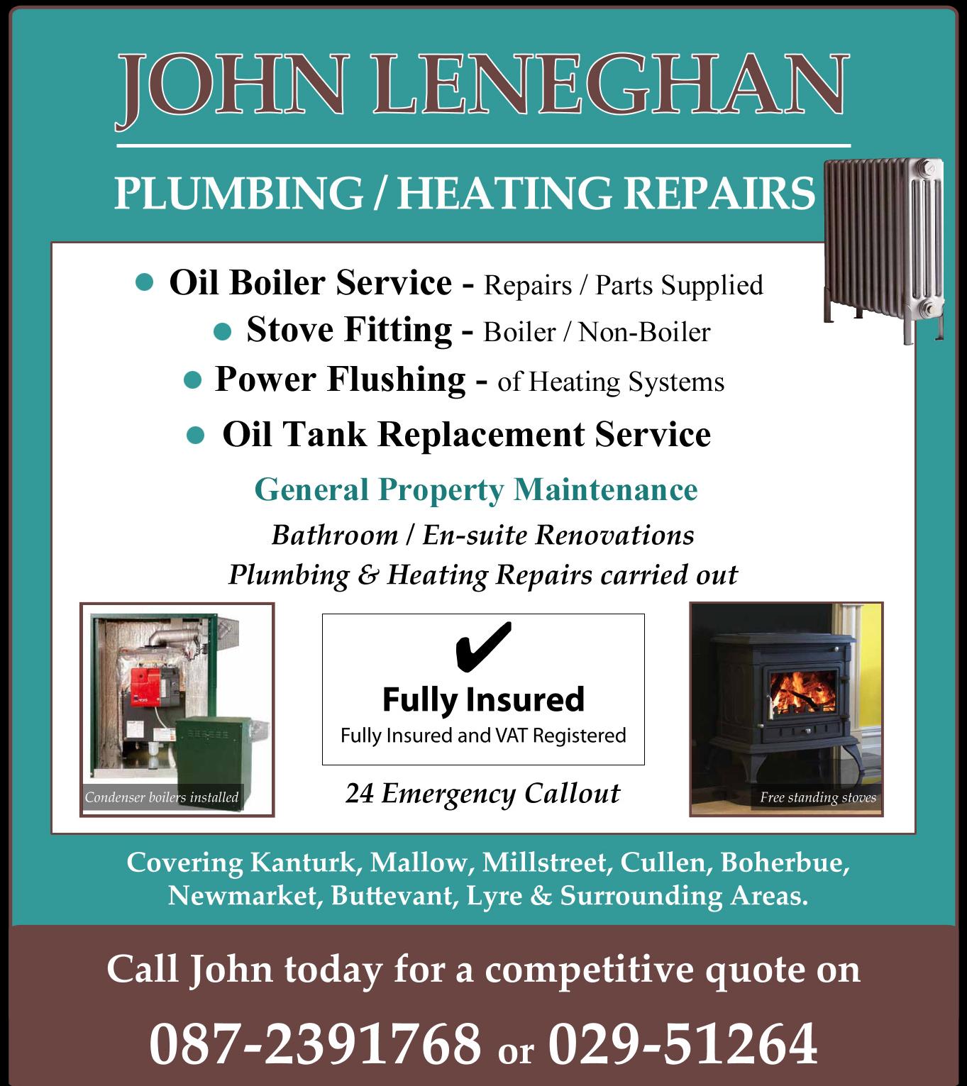 John Leneghan Plumbers Kanturk Plumbing Boilers Kanturk Bathrooms Cork