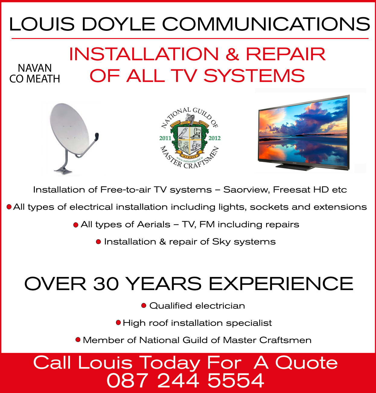 Louis Doyle TV Meath Electricians Meath Saorview Installation Meath